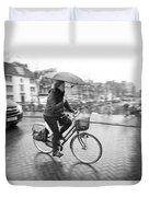 Woman Riding In The Raing Duvet Cover