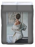 Woman Sat In A Gallery Duvet Cover