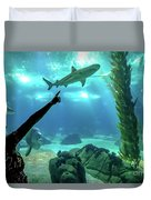 Woman Shark Enjoyng Duvet Cover