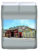 Woman Sits Outside Chinese Temple With Urn And Deity Statues Pattani Thailand Duvet Cover