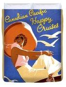Woman Sitting On A Cruising Ship Duvet Cover
