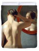 Woman Standing In Front Of A Mirror 1841 Duvet Cover