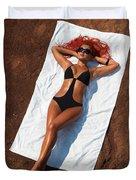 Woman Sunbathing Duvet Cover