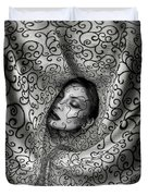 Woman Surrounded By Cloth Of Paisley Prints Duvet Cover