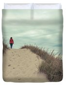 Woman Walking In The Dunes Of Cape Cod Duvet Cover