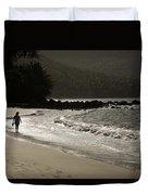 Woman Walking On A Deserted Beach Duvet Cover