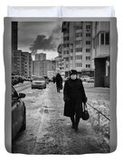Woman Walking On Path In Russia Duvet Cover