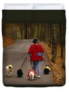 Woman Walks Her Army Of Dogs Dressed Duvet Cover