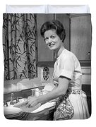 Woman Washing Dishes, C.1960s Duvet Cover