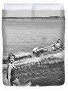 Woman Water Skiing Duvet Cover
