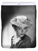 Woman Wearing A Hat & Veil Duvet Cover