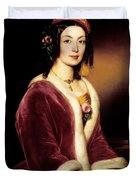 Woman Wearing A Velvet Pelisse  Duvet Cover