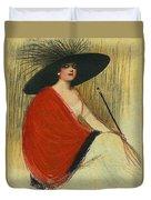 Woman Wearing Hat Duvet Cover