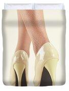 Woman Wearing High Heel Shoes Duvet Cover