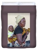 Woman With A Baby In Tanzania Duvet Cover