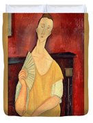 Woman With A Fan Duvet Cover by Amedeo Modigliani