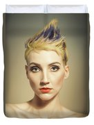 Woman With A Funky Hairstyle Duvet Cover