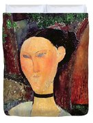 Woman With A Velvet Neckband Duvet Cover by Amedeo Modigliani