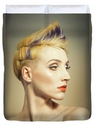 Woman With An Edgy Hairstyle Duvet Cover