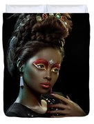 Woman With Beehive Hairstyle And Jewelry Headdress Duvet Cover