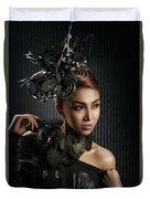 Woman With Black Metallic Headdress Duvet Cover