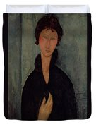 Woman With Blue Eyes Duvet Cover by Amedeo Modigliani