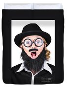 Woman With Fake Beard And Mustache Screaming Duvet Cover