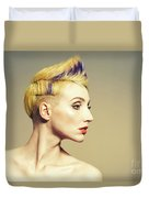 Woman With Funky Hairstyle Duvet Cover