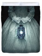Woman With Lantern Duvet Cover