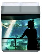 Woman With Leopard Shark Duvet Cover