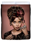 Woman With Ring Headdress And Bouffant Hairstyle Duvet Cover