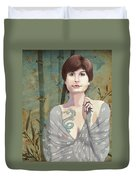 Woman With Tattoo Duvet Cover
