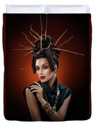 Woman With Twig Headdress And Oriental Look Duvet Cover