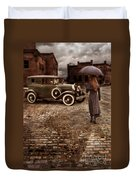 Woman With Umbrella By Vintage Car Duvet Cover by Jill Battaglia