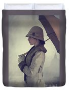 Woman With Vintage Cloche Hat Overcoat And Umbrella In Rain Duvet Cover