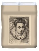 Woman With White Veil And Black Hat (mary Stuart?) Duvet Cover