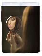 Woman's Face In The Mirror Duvet Cover