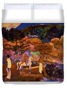 Women And White Horse 1903 Duvet Cover