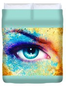 Women Eye Color Rust Effect Painting Collage Violet Makeup. Duvet Cover