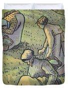 Women Gathering Mushrooms Duvet Cover