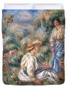 Women In A Landscape Duvet Cover