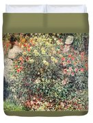 Women In The Flowers Duvet Cover by Claude Monet