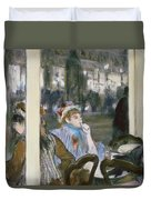 Women On A Cafe Terrace Duvet Cover by Edgar Degas