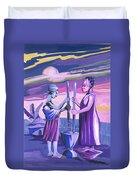 Women Pounding Cassava Duvet Cover