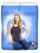 Womens Fashion Pinup Model On Blue Studio Lights Duvet Cover