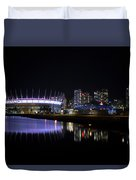 Wonderful Night Of False Creek View With Bc Place. Duvet Cover