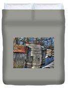 Wood  Barrel Oak Fermentation Whiskey Bourbon Cask Winter Snow Wood Faust Park Duvet Cover