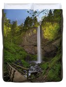 Wood Bridge At Latourell Falls Duvet Cover