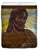 Wood Carving Of Jesus Duvet Cover