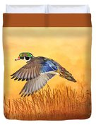 Wood Duck In Flight Duvet Cover